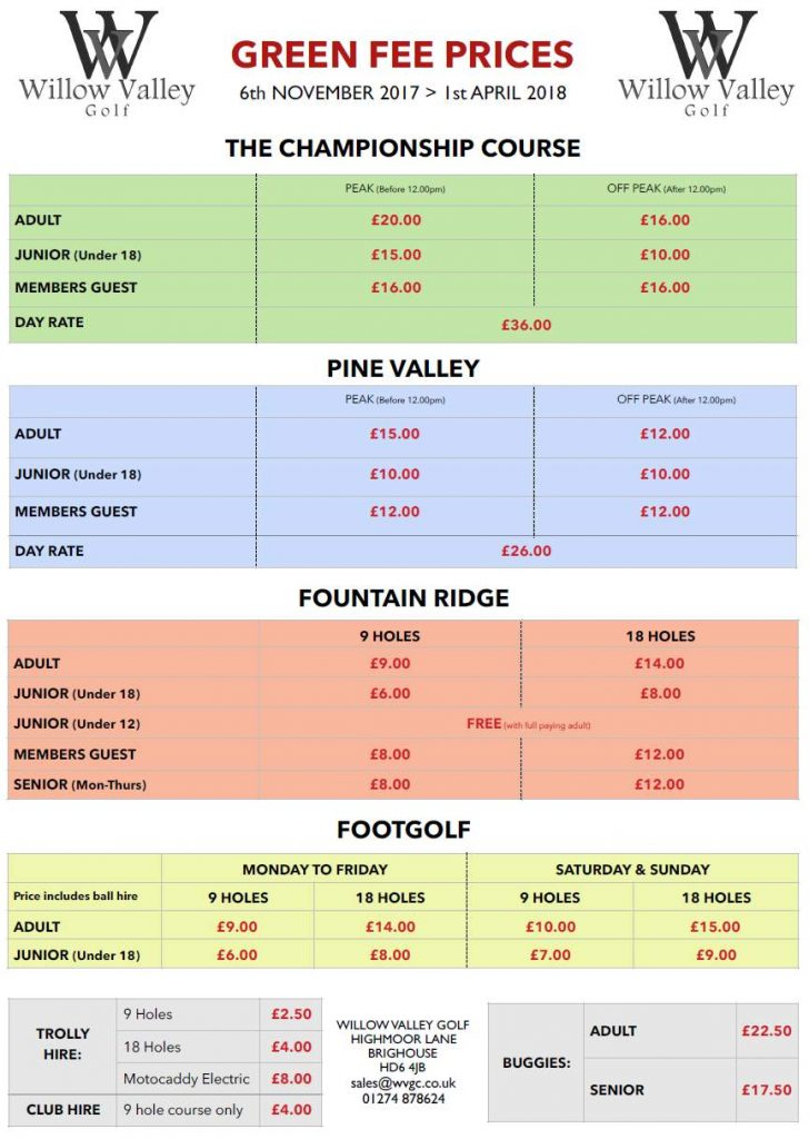 Winter Greenfees